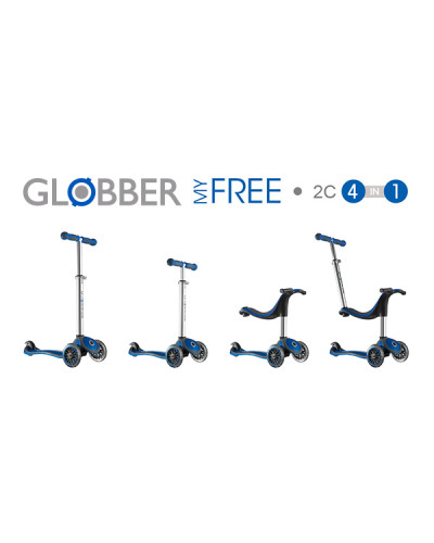 globber 4 in 1 my free kids scooter dark blue. Black Bedroom Furniture Sets. Home Design Ideas