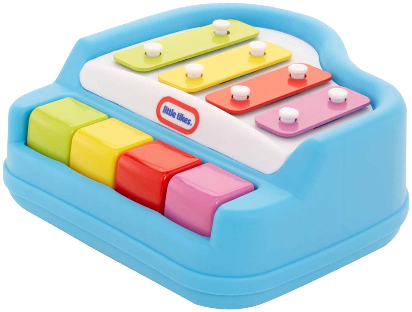 Little Tikes Baby Tap a Tune Piano Blue. This toy piano will delight and stimulate your baby! It is just the right size for little hands, and the keys are easy to press. Babies will learn cause and effect, and begin to develop a sense of rhythm and timing