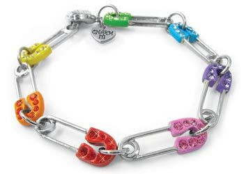 Charm It Rainbow Safety Pin Bracelet