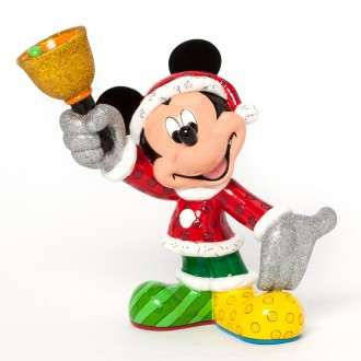 Britto Santa Mickey with Bell Figurine