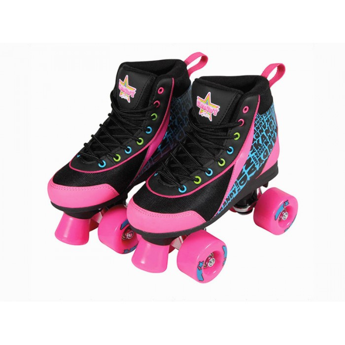 Kandy Skates Black Boot with Pink Wheels Size 7