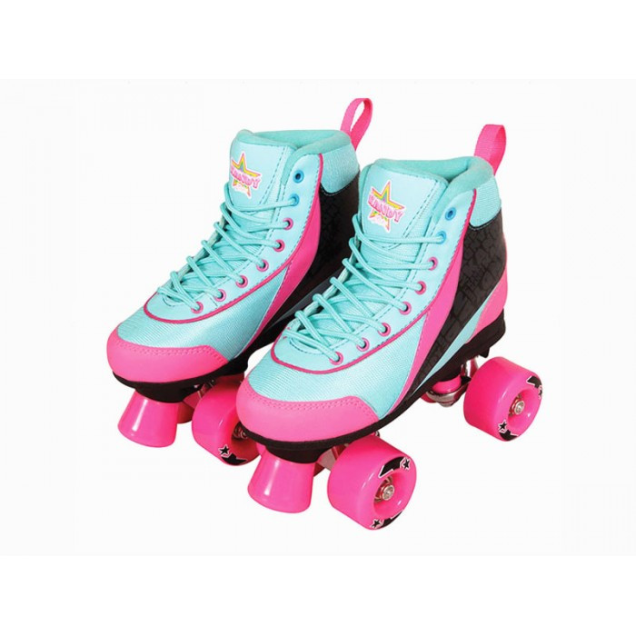 Kandy Skates Teal Boot with Pink Wheels Size 5