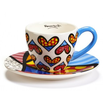 Britto Cup & Saucer Dotted Hearts
