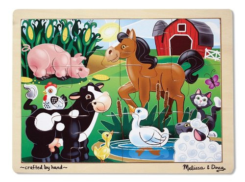 Melissa & Doug On the Farm Wooden Puzzle 12pc