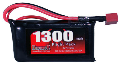 Red Back Battery 7.4v Lipo 1300Mah 25c