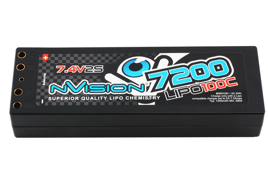 NVision 7.4V 7200mAh 100C Factory Pro Battery with Tubes