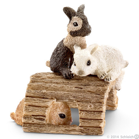 SC13748 Schleich Baby Rabbits Playing
