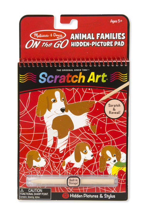 Melissa & Doug - On The Go - Scratch Art Hidden-Picture Pad - Animal Families