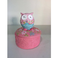 9cm Owl With Flowers Pin Box Asstd