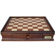 Dal Rossi Italy Walnut Finish 40cm (16in) Chess Box with Drawers (Box Only)