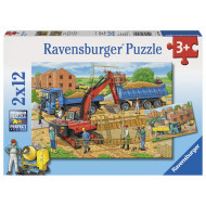 Ravensburger - Busy Construction Site Puzzle 2x12pc