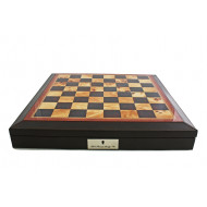 Dal Rossi Brown PU Leather Bevilled Edge 18 inch (45cm) Chess Box/Board with Compartments